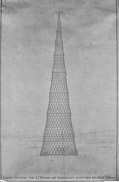 Choukhov, esquisse tour de transmission radiophonique, Moscou, 1919-1922