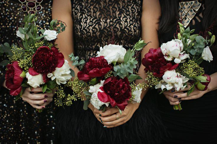 red peony winter bouquets | Photo by Jenny Jimenez