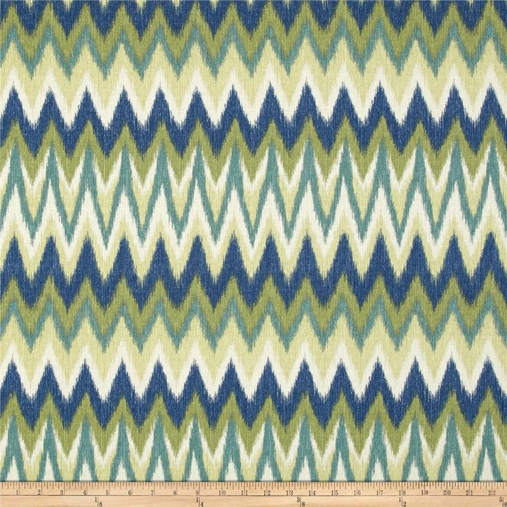 Swavelle Mill Creek Rifat Chevron Green Navy From Fabricdotcom Screen Printed On Textured