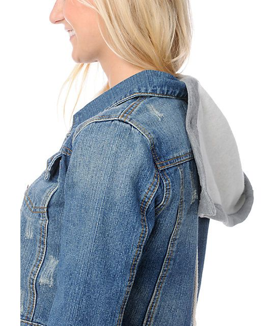 Thread and Supply Cropped Hooded Jean Jacket