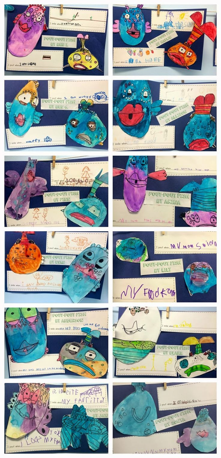 Pout-Pout Fish directed drawings by Deanna Jump.  Kindergarten ocean unit!