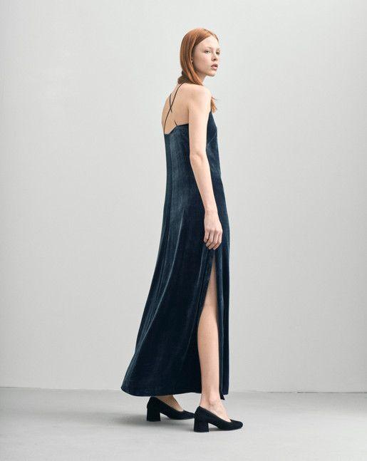 Velvet Strap Dress - Dresses - Woman - Filippa K