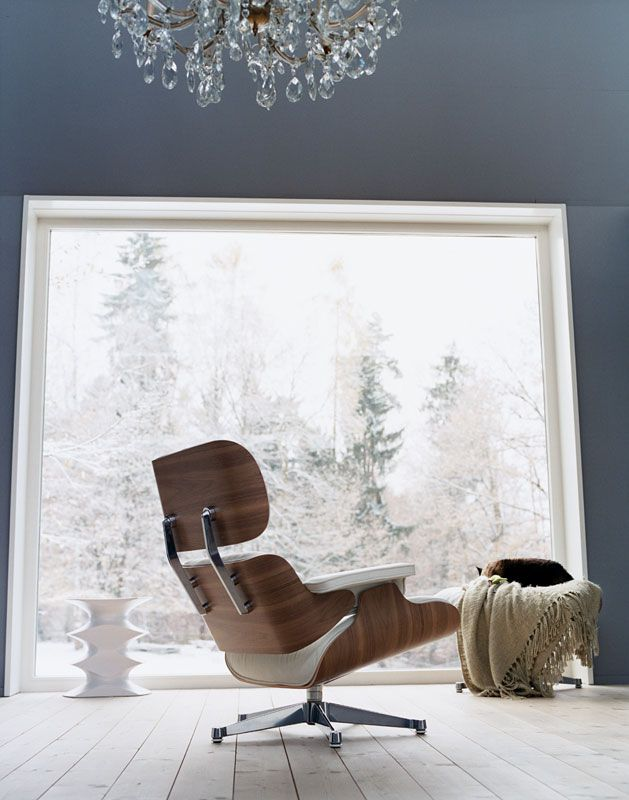 White Version Of Eames Lounge Chair By Vitra Inside.