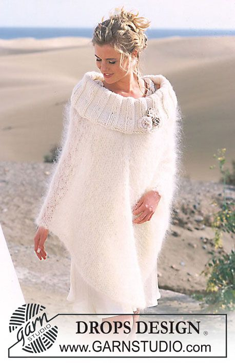 Ravelry: 89-25 Poncho in Vienna and Eskimo, with crocheted flowers in Cotton Viscose pattern by DROPS design