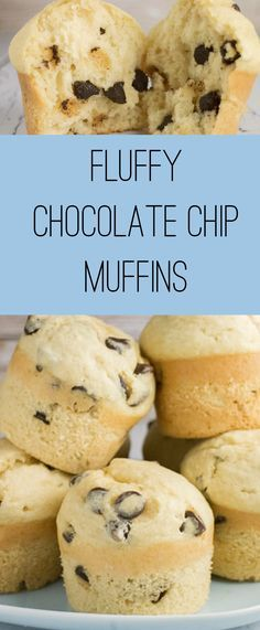 Fluffy Chocolate Chip Muffins recipe. The muffins are light, moist and full of chocolate bites!