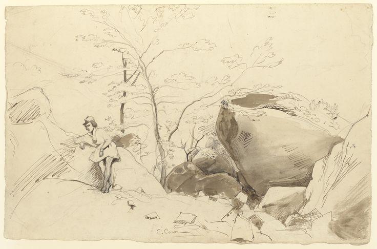Jean-Baptiste-Camille Corot - Figura appoggiata a una roccia
