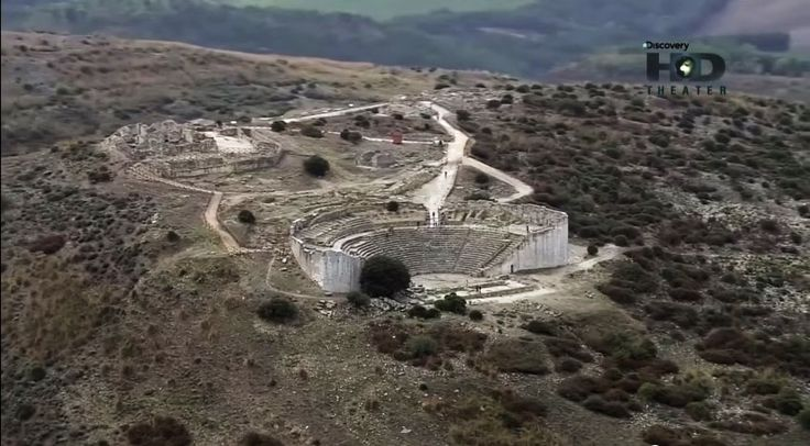 Aerial view of the theater of Segesta.