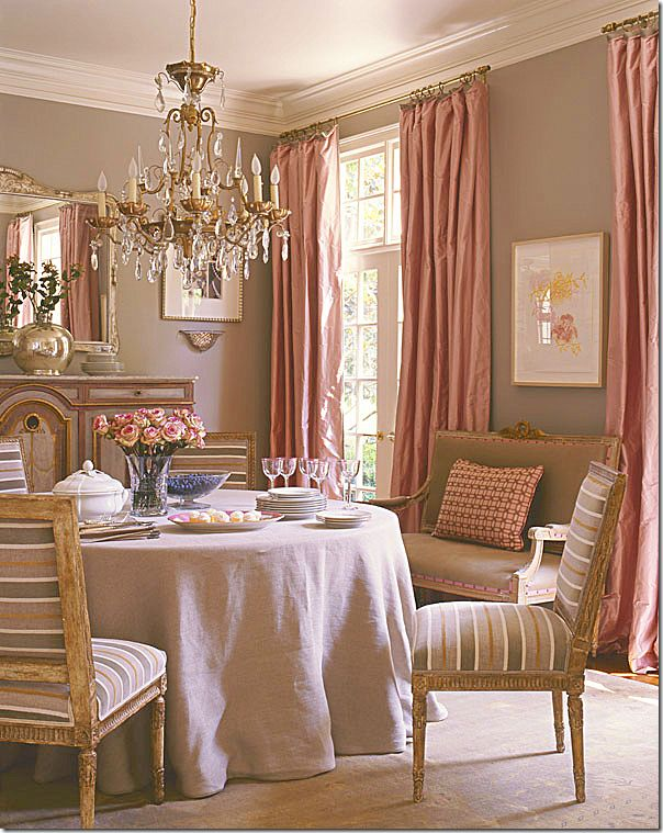 Antique French Louis XVI chairs with a contemporary stripe in Suzanne Kasler's formal dining room.