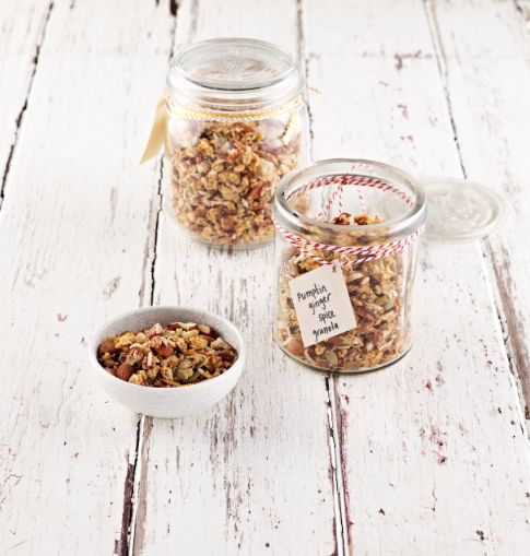 Our sugar-free Pumpkin + Ginger Spice Granola is perfect for Thanksgiving breakfast or to give as a gift to guests - I Quit Sugar