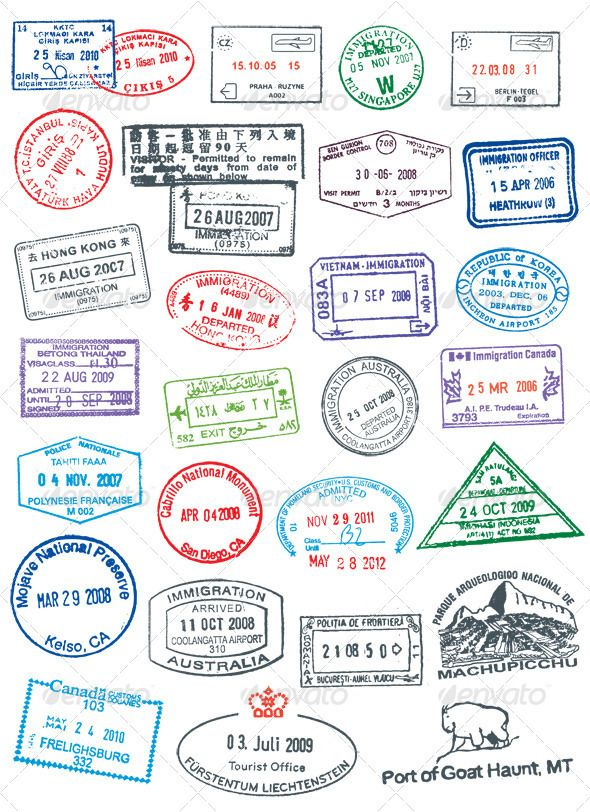 High detailed vector passport stamps. Like real stamp, rough and cracked.