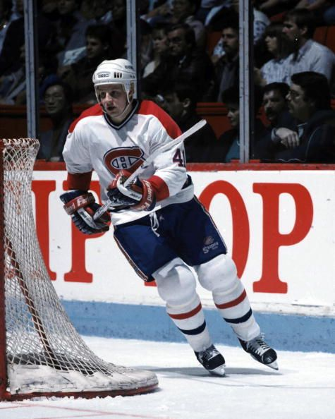 MONTREAL 1980's Brent Gilchrist of the Montreal Canadiens skates in the late 1980's at the Montreal Forum in Montreal Quebec Canada Girchrist played...
