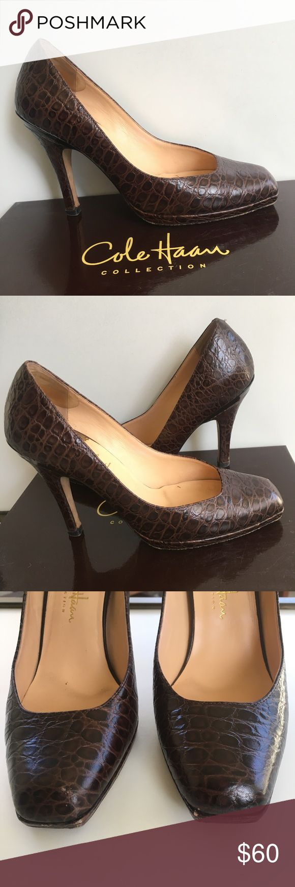 Cole Haan Nike Air Carma Pumps - Size 6.5 Cole Haan Nike Air Carma pumps in chocolate croc print, size 6.5. Good used condition; normal wear on bottom, heel and toe as shown in pictures. Cole Haan Shoes Heels