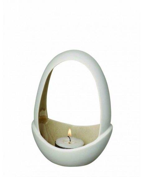 Herstal Piemonte kynttelikkö simpukanharmaa avoin malli 15 cm