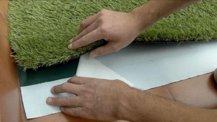 cómo poner césped artificial unión retirada cinta protectora