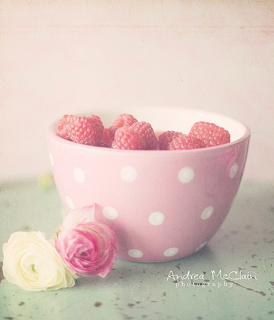 Fresh raspberries for baking... in a pink polka dot bowl! Pastels #Pastel ☮k☮
