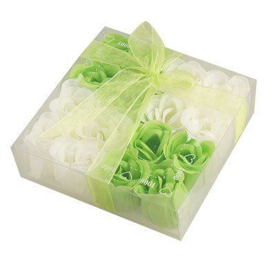 """Rosallini Green White Scented Bath Rose Flower Soap Petal 16 Pcs by Rosallini. $7.57. Package Content: 1 x 16 in 1 Box Bath Soap Petals. Color: Green, White; Weight : 78g; Material: Paper Fancy Soap, Flavor. Product Name: Bath Soap Rose. Each Rose Size: 3.8 x 3.8cm/ 1.5"""" x 1.5""""(D*H). Square Case Size: 13.5 x 13.5 x 4cm/ 5.3"""" x 5.3"""" x 1.6""""(L*W*H). Rose flower petal with soap on it, perfect for a quick hand wash or luxurious bath. Red butterflyknot decor square shape gi..."""