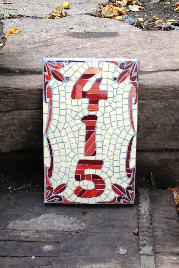Mosaic House Number Template 5 by janotoole on Etsy, £80.00