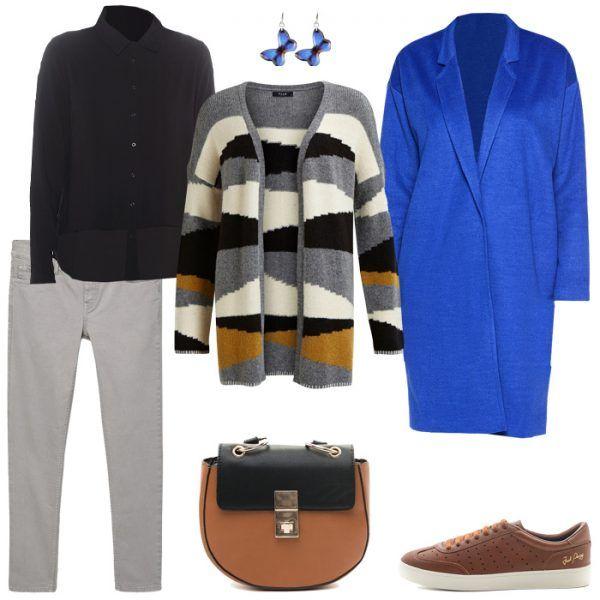 Серые брюки, синий кардиган, оранжевая сумка, коричневые ботильоны