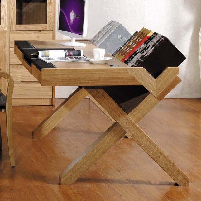 Such a cool minimalist wooden desk.