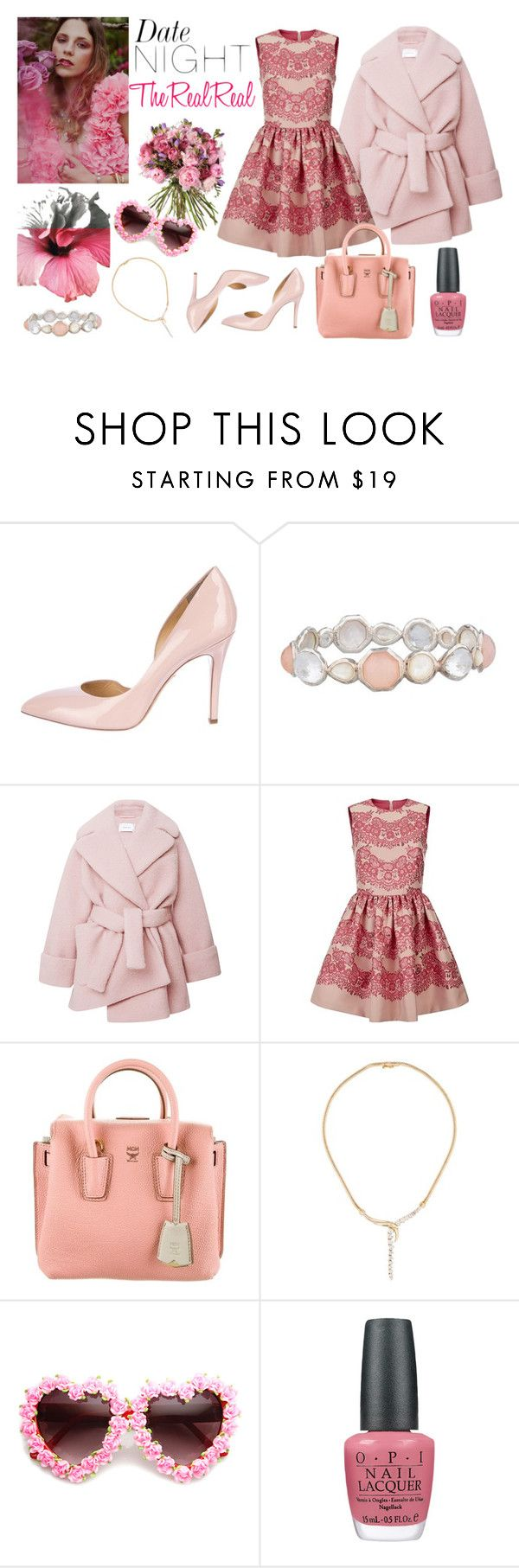 Date Night Dressing with The RealReal: Contest Entry by stylebycharlene on Polyvore featuring RED Valentino, Carven, Charlotte Olympia, MCM, Ippolita, OPI, Pink, pastel, trend and pastels