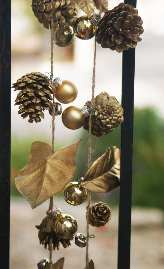 Gold Pine Cone Garland Christmas Pinecone Decor Gold by Teakberry