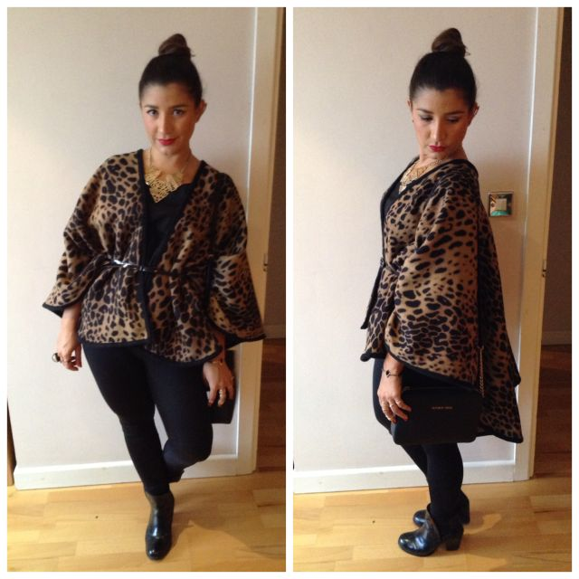 Leopard print blanket wrap from Oasis, black leggings from H&M, black vest from Primark, black ankle boots from H&M, bag from Michael Kors, necklace from Primark.