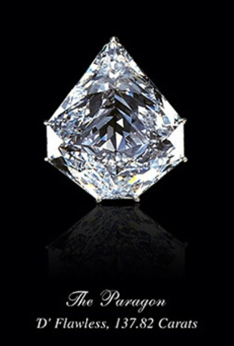 """Paragon diamond. Mined in Brazil and cut in a 7-sided """"kite shield"""" shape."""