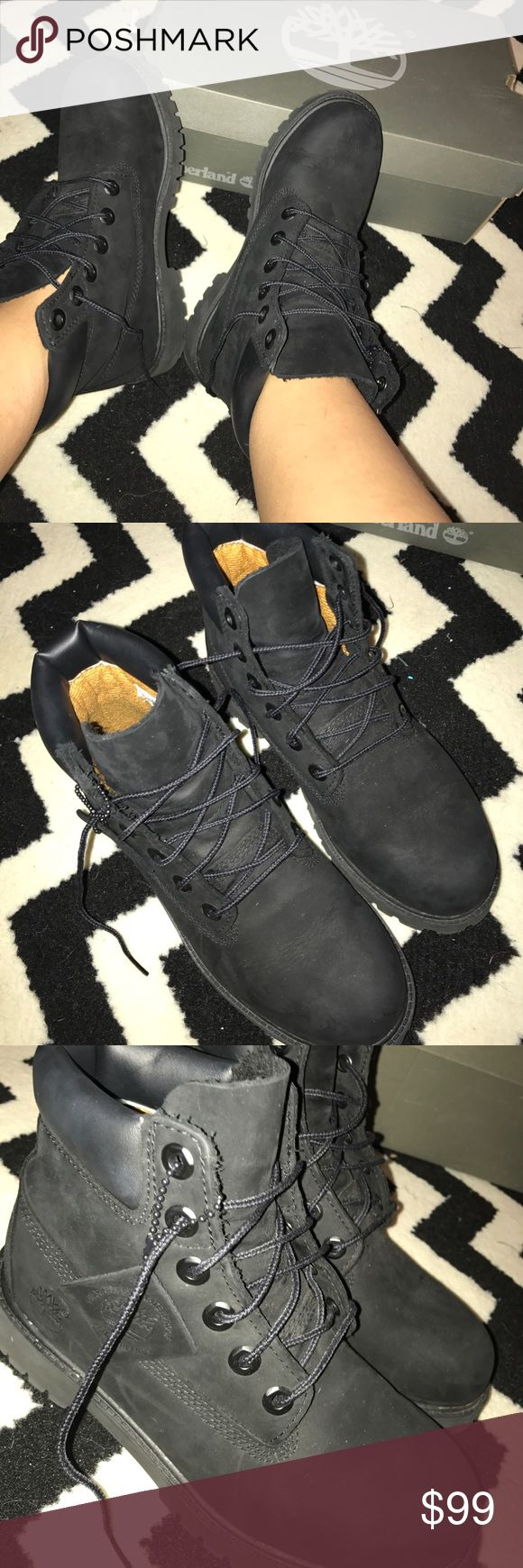 Black Timberlands Crisp, brand new in box pair of Timberlands. They are a kids size 5 which fits a women's size 8. I am obsessed with them so much, but I just need the $ right now :) any questions, just ask! Super cute! Good for winter or summer! Timberland Shoes Combat & Moto Boots