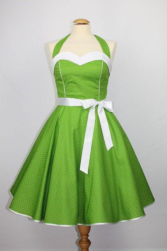 Prom vestido vestido rockabilly años 50 blanco verde por charmemode