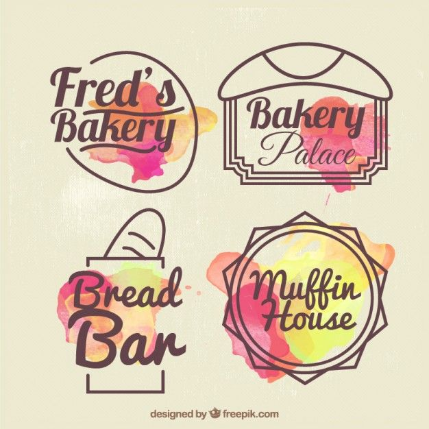 Insignias de panadería dibujadas a mano con efecto acuarela Vector Gratis