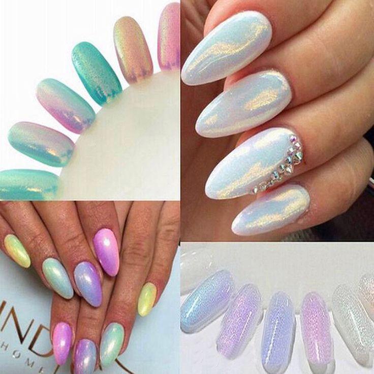 Hot Koop Holografische Nail Glitter Stralende Spiegel Nail Glitter Poeder Nail Art Tip Decoratie Pigment Chrome Glitter 5 Kleur
