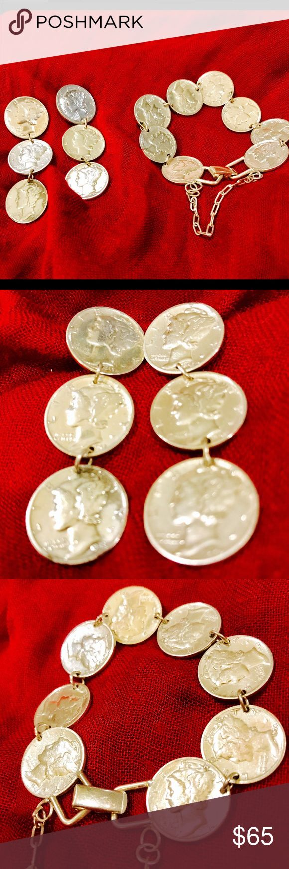 Authentic Silver Dime Earring & Bracelet Set Unusual , Eyecatching FUN , Dime Coin jewelry matching set . Real silver , real dimes. Jewelry Earrings