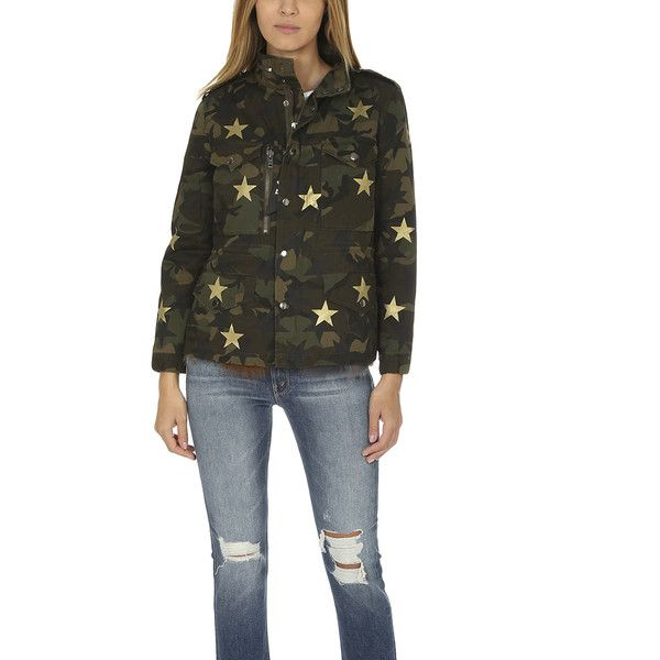 Jocelyn Camo Field Jacket with Stars JOCELYN ($1,095) ❤ liked on Polyvore featuring outerwear, jackets, home, women's, patchwork jacket, military jackets, army camo jacket, army field jacket and camouflage jacket