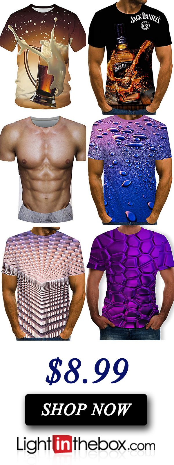 82 Of The Most Creative T Shirt Designs Ever: Men's Weekend Street Chic Plus Size T-shirt - 3D
