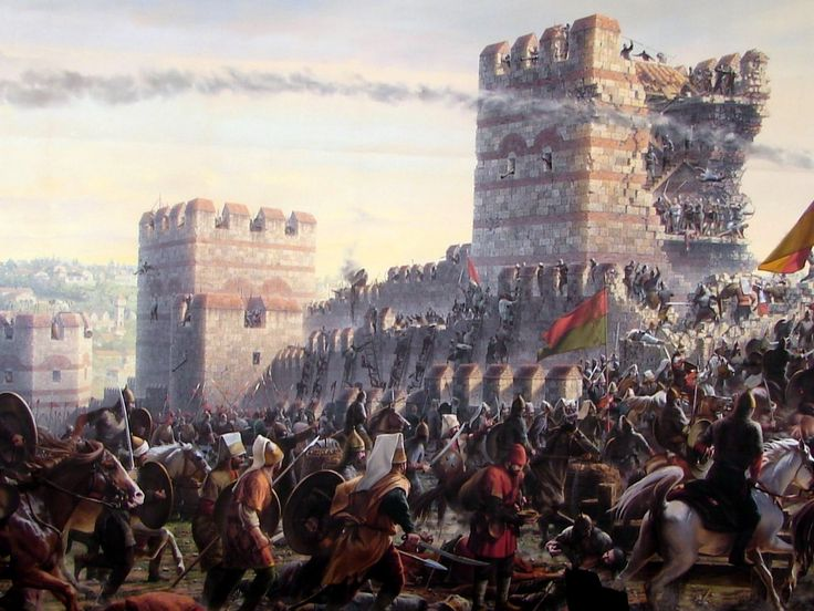 Janissaries storming the Wall of Constantinople ... The Ottoman Empire Janissaries