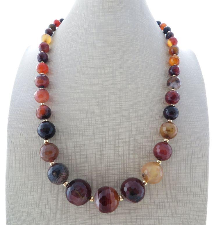 Brown agate necklace, uk gemstone choker, coffee stone necklace, bridesmaid jewelry, italian jewellery, christmas gift, gioielli, bijoux by Sofiasbijoux on Etsy