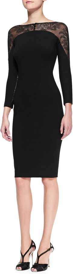 Carolina Herrera Lace-Panel Sheath Dress on shopstyle.com