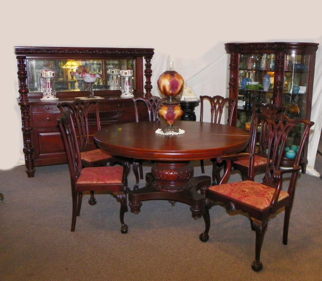 Details About 9 Pc Matching Antique Mahogany Dining Room