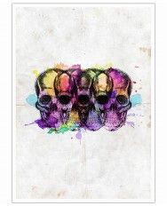 Watercolor Skulls-Art Print
