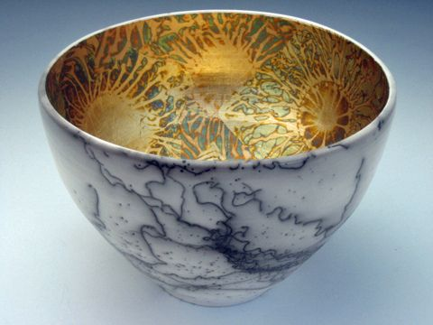 Gilded horse hair raku bowl: