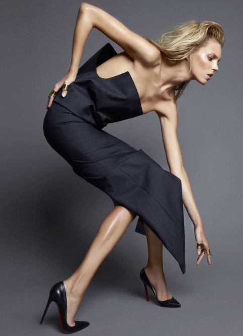 Anja Rubik Fashion Editorial Black Dress, Louboutins & Gorgeous Model Pose