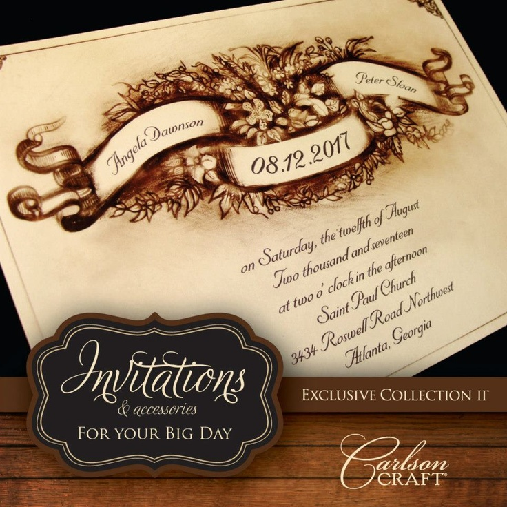 free printable0th wedding anniversary invitations%0A This wedding invitation from the brand new Exclusive Collection II album  from Carlson Craft will help