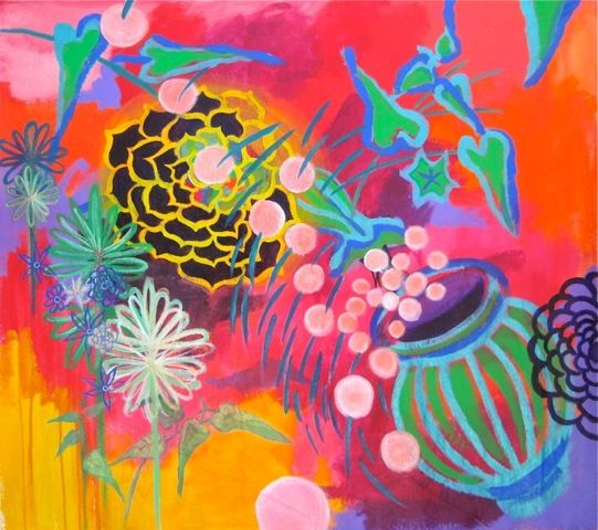 Artist Member: Painter Sas Colby's vivid colors and floral shapes dance with each other in space- recalling Matisse, with a California palette. Energetic yet thoughtful, these richly painted works celebrate the sensory experience of painting from nature.