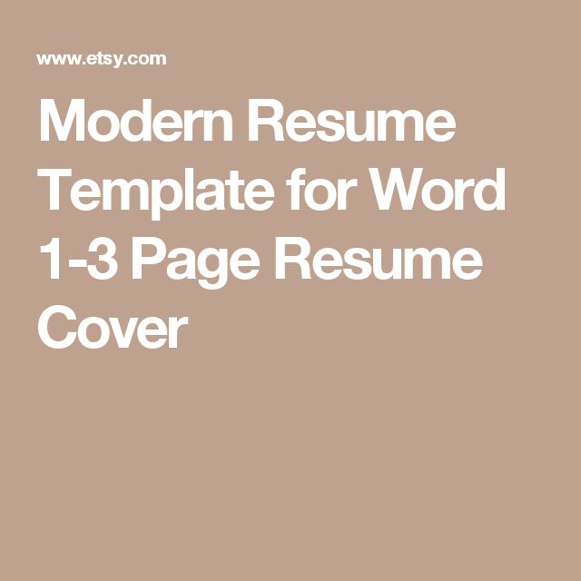 Modern Resume Template for Word 1-3 Page Resume  Cover