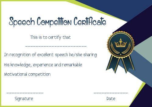 Speech Contest Winner Certificate Template: 10 Free PDF ...