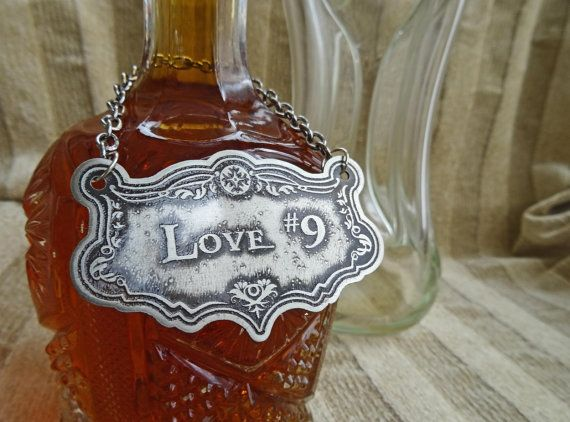 Love #9 Decanter Label Etched German Silver-Nickel Traditional Decanter Barware Liquor Label Gifts For Him Housewarming Handmade Metal Label
