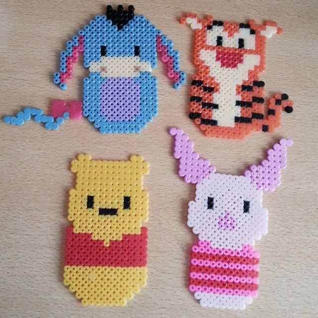 Winnie the pooh and friends. Perler beads, hama beads, bead sprites, nabbi fuse melty beads by princesagalleta