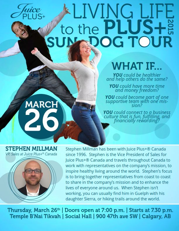 "March 26th Stephen Millman will be in Calgary for the ""Living Life to the Plus Sun Dog Tour"" ‪#‎SunDogtour‬ ‪#‎JPCANADA‬"