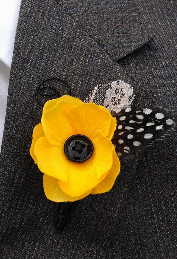 Black and Yellow Wedding  Button Bloom by TellableDesign on Etsy
