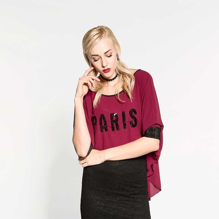 """Oversized t-shirt with embroidery logo """"Paris"""""""